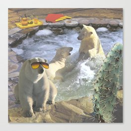 Polar Bear Hot Tub Canvas Print