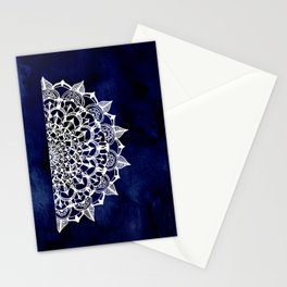 White Lace Medallion on Ink Blue Stationery Cards