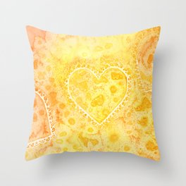 Yellow & Orange Lace Hearts Throw Pillow