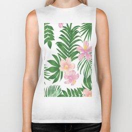 Summer tropical modern blush pink coral green floral Biker Tank