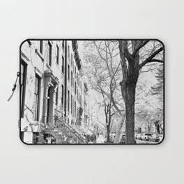 Cobble Hill Brooklyn Winter Black and White Brownstone Laptop Sleeve