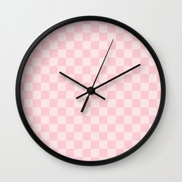 Large Light Millennial Pink Pastel Color Checkerboard Wall Clock