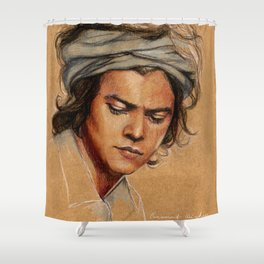 H tan paper Shower Curtain