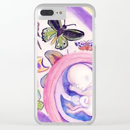 Butterfly Baby Belly - Reflection on Pregnancy Clear iPhone Case