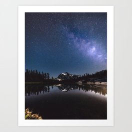 Summer Stars - Galaxy Mountain Reflection - Nature Photography Art Print