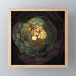 Wild swirling worlds in green and yellow Framed Mini Art Print
