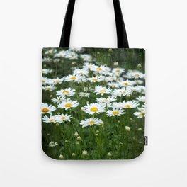 White Daisy Field Tote Bag