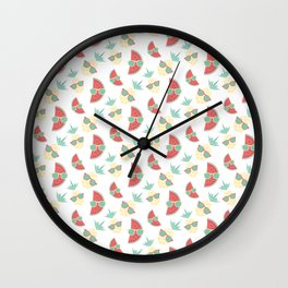 Pineapple and watermelon in sunglasses pattern Wall Clock
