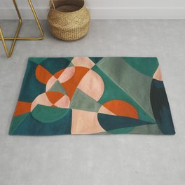 The Sunset & The Mountains Retro Abstract Art - Teal & Burnt Sienna Rug