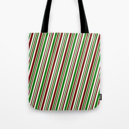 Festive, Christmas-Style Green, White & Red Colored Stripes Pattern Tote Bag