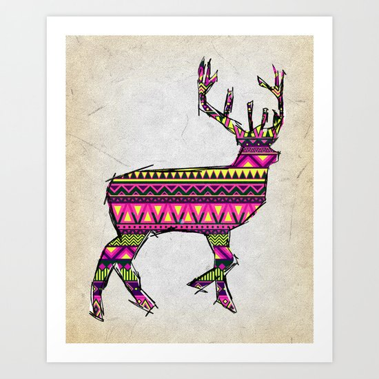Deer Navajos pattern Art Print