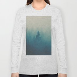 Misty Turquoise Blue Pine Forest Foggy Parallax Tree Landscape Silhouette Long Sleeve T-shirt