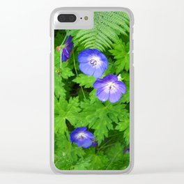 Blue cranesbill Clear iPhone Case