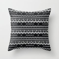 Tribal Print in Black and White Throw Pillow