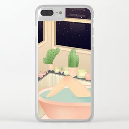 girl taking a relaxing bath under the stars Clear iPhone Case