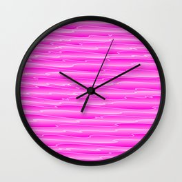 Curved gentle scribbles of art waves and light pink lines. Wall Clock