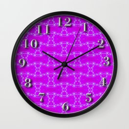 Purpel fractal Wall Clock