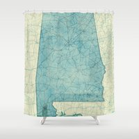 alabama Shower Curtains featuring Alabama State Map Blue Vintage by City Art Posters
