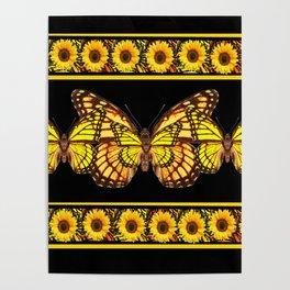 YELLOW MONARCH BUTTERFLIES & SUNFLOWERS BLACK ART Poster