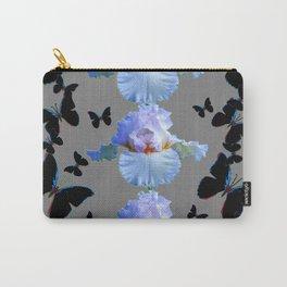 BLACK BUTTERFLIES & PASTEL IRIS MODERN ART DESIGN Carry-All Pouch