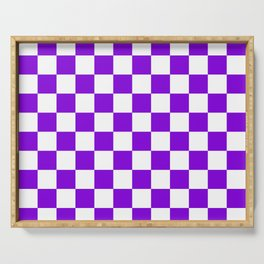 Checkered (Violet & White Pattern) Serving Tray