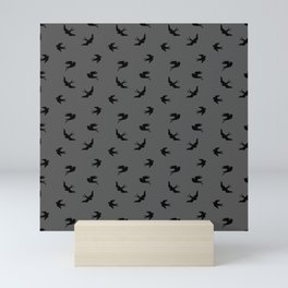 Black Flying Birds Seamless Pattern on Dark Grey background Mini Art Print