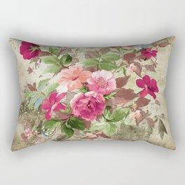 Roses on Vintage Background Rectangular Pillow