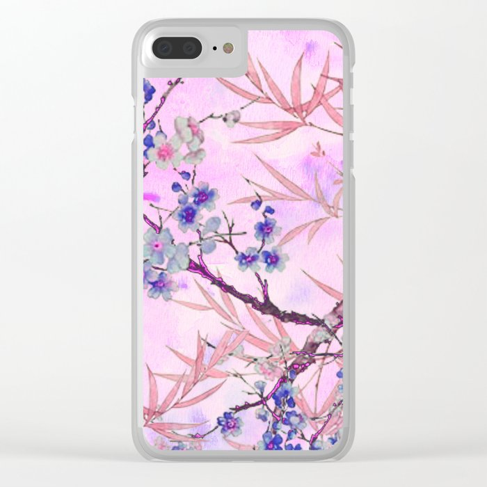 little blue flowers and pink leaves Clear iPhone Case