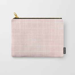 Blush Pink Coral Grid Carry-All Pouch