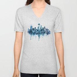 Seattle Skyline monochrome watercolor Unisex V-Neck