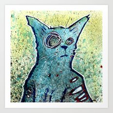 Kuro the Zombie Cat Art Print
