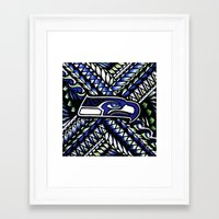 seahawks Framed Art Prints featuring Seahawks new tribal look by Lonica Photography & Poly Designs