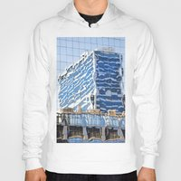 buildings Hoodies featuring Twisted Buildings by davehare