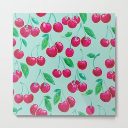 Watercolour Cherries | Mint Background Metal Print