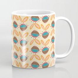 Mid Century Beige Floral Pattern Coffee Mug