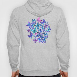 Watercolor Fruit Patterned Butterflies - aqua and sapphire Hoody