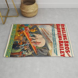 Ringling Bros Barnum & Bailey White Baby Elephant Pawah Vintage Poster Rug