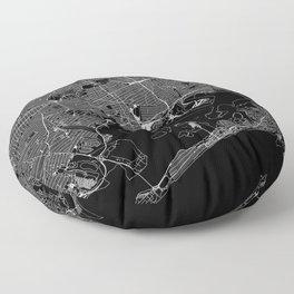 Queens Black Map Floor Pillow