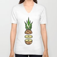 pineapple V-neck T-shirts featuring Pineapple by Jan Luzar