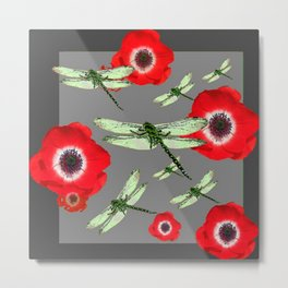EMERALD GREEN DRAGONFLIES & RED POPPY FLOWERS GREY ART Metal Print