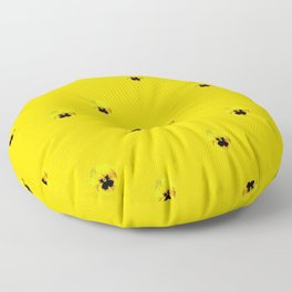 YELLOW  PANSY FLOWERS SPRINKLES GOLDEN YELLOW Floor Pillow