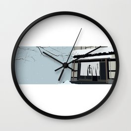 Japan traditional building Hot Spring Hotel in Snow Wall Clock