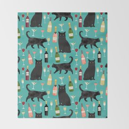 Black cat wine champagne cocktails cat breeds cat lover pattern art print Throw Blanket