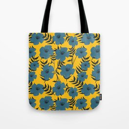 Blue Flowers with Banana Leaves with Yellow Tote Bag