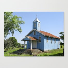 Little blue wooden church Canvas Print