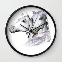 White Horses of the Camargue Wall Clock