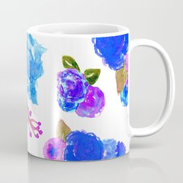Watercolor Bouquet Floral in White + Blue Coffee Mug