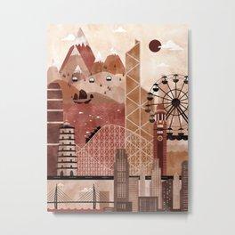 Hong Kong Travel Poster Illustration Metal Print