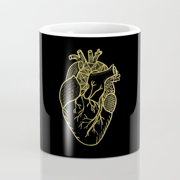 Designer Heart Gold Coffee Mug