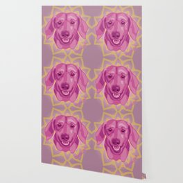 DuFauna Smiling Berry Pink Dachshund Face Wallpaper